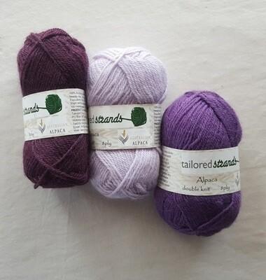 8ply Tailored Strands 100% Australian Alpaca purple-mauve colours in 50g balls AU$11.95 each - bilberry, wisteria, twilight lavender