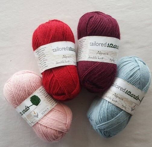 SPRING SPECIAL  AU$13.95-for-100grams  8ply Tailored Strands 100% Australian Alpaca classic colours in 50g balls. Normally 100g $23.90 or 50g $11.95  Dusty pink, scarlet, claret, sky blue