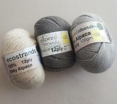 12ply 100% Australian baby alpaca 100gram balls  AU$23.90/100g each - ivory, midgrey, silver grey.