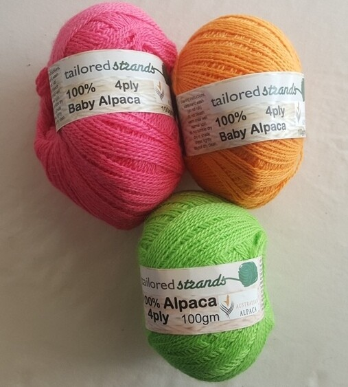4ply 100gram Brights 100% Australian baby alpaca balls  AU$23.90/100g each -cyclamen pink, mango, apple green .