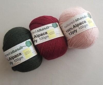 12ply 100% Australian baby alpaca 100gram balls  AU$23.90/100g each -olive, claret, pink.