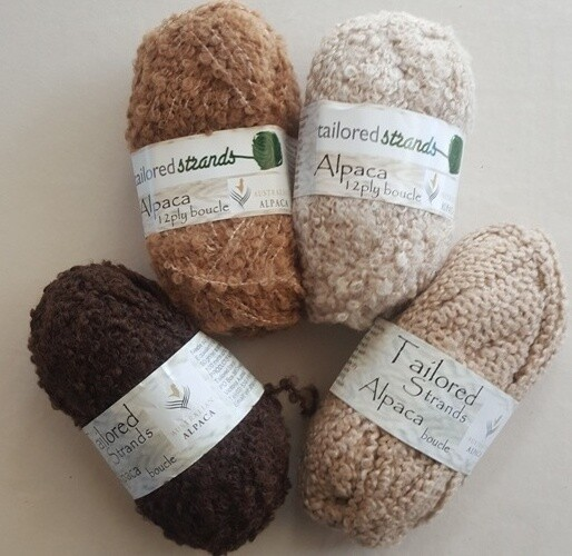 Boucle 12ply naturals 50grams 100% Australian alpaca yarn by Tailored Strands - mocha brown, cashew, champagne, sandstone.