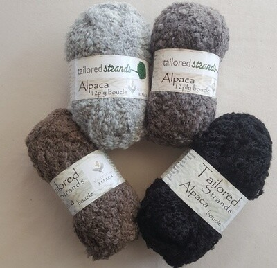 SUMMER ENDING SPECIAL Boucle12ply 100g naturals 100%Aussie alpaca yarn by Tailored Strands -rosegrey, silver, mid grey, black. Amazingly soft against the skin! 100grams RRP $23.90, for now $18.95/100g