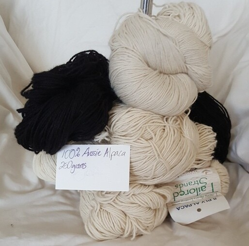 250 gram Hanks $57 100% Australian baby alpaca yarns - 8ply or 4ply - natural or black - ideal for dyeing or join-free knitting!  (250g @ $228/kg) Also Finn-sheep 500g hanks for $90 ($180/kg)