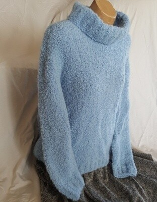 SUPER SPECIAL Australian made beautifully textured cowl neck jumper. At 515 grams that's 11 x 50g balls of boucle ($131.45 just for the wool!!!) Sized as casual look M or snug fit L for ladies.