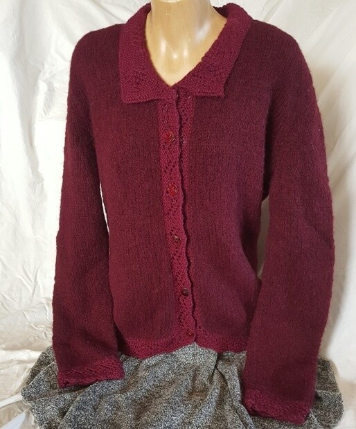 Ladies Lace Collar Brushed Cardi, Burgundy color.   Pre-Winter Special, normally $350.00
