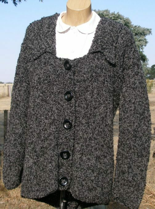 Ladies Jacket, Wide neck bi-color charcoal, Winter Special, normally $400.00
