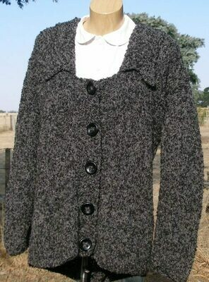 Ladies Jacket, Wide neck bi-color charcoal, End of Winter Special, normally $400.00
