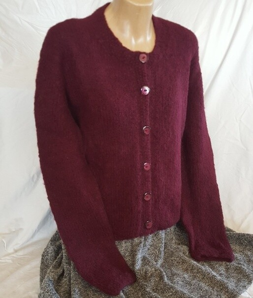 Brushed Ladies Cardi, Burgundy color.   Winter Special, normally $350.00