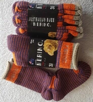 3pair packs Orange/blue Merino Socks (ladies size 2-8)- made in Australia, from Australian merino wool.