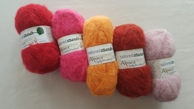 SEPTEMBER SPECIAL AU$7.50 50grams Brushed 12ply Brights reds-pinks 100% Australian alpaca yarn. Normally AU$11.95/50g each