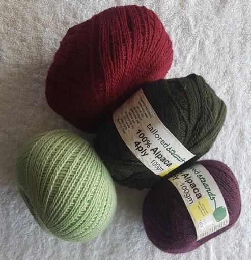 4ply 100gram 100% Australian baby alpaca balls  AU$23.90 each - lichen green, claret, olive & bilberry.