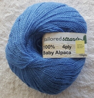 SUPER SPECIAL SEPTEMBER 4ply 100gram 100% Australian baby alpaca balls.   At $13.95/100g each that's 42% discount! almost 1/2 price! - ocean blue, Normally $23.90/100g.