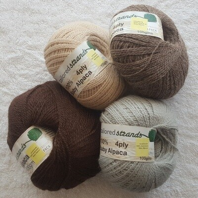 SUMMER SPECIAL 4ply 100grams 100% Australian baby alpaca - mocha brown, champagne, rose grey & silver. Normally AU$23.90/100g 30% saving!!  Now only ...