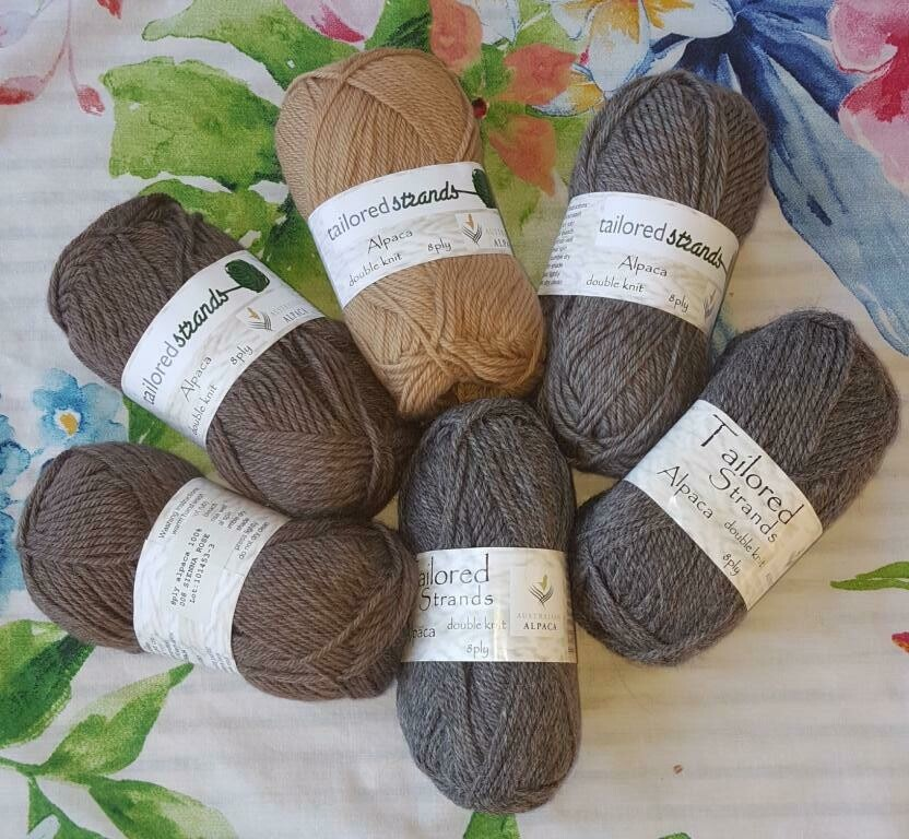 8ply $10.00 Tailored Strands 100% Australian Alpaca 50g balls, normal price AU$11.95/50g - Sienna Rose, Smoky Rose & MidGrey. End of batch-last balls. Cashew sold out.