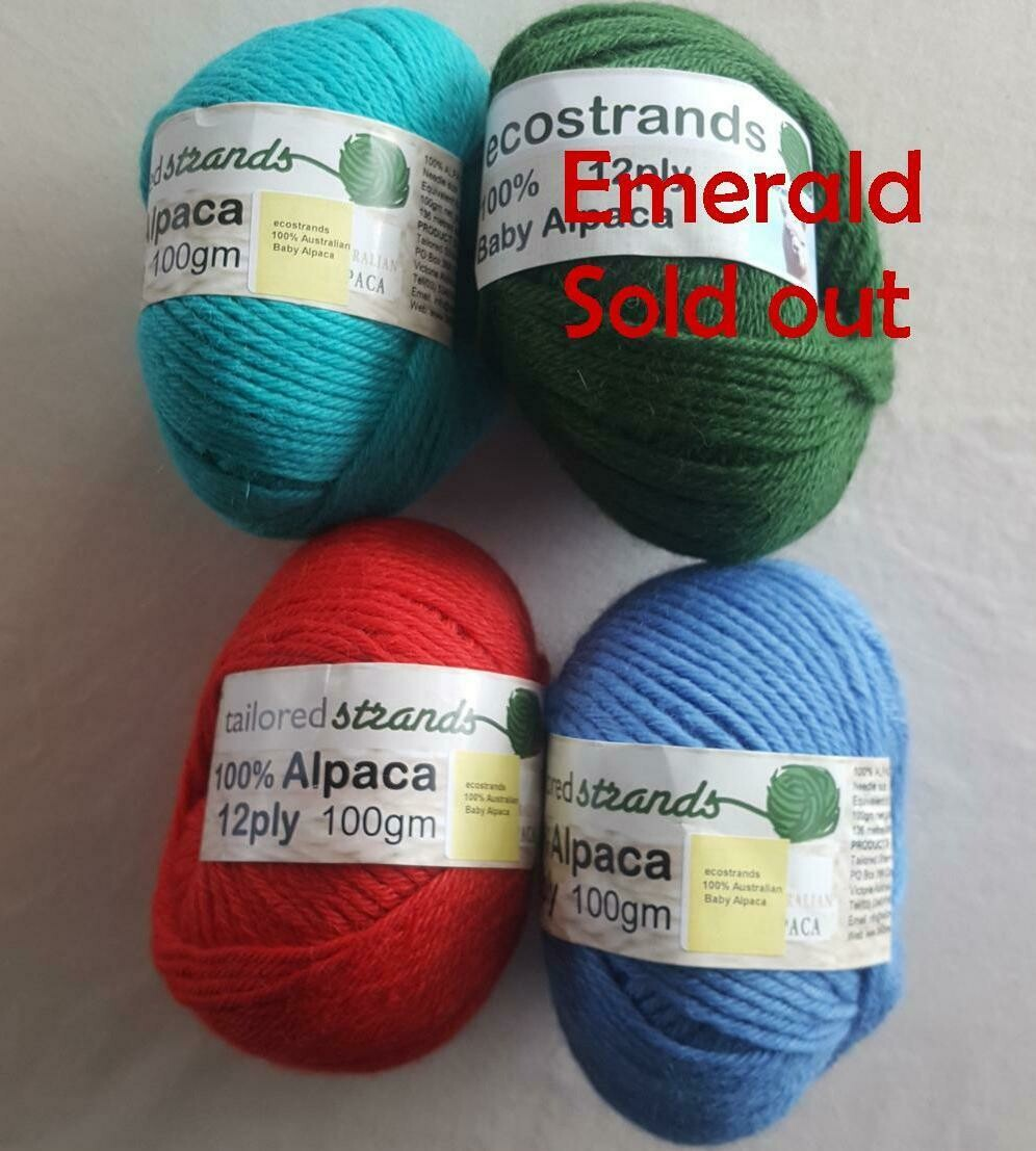SPRING SPECIAL 12ply 100g 100% Australian baby alpaca  - seachange(aqua), emerald, rufous red, ocean blue.  Limited stock left. 30% SAVINGS!! Not $23.90 but only...