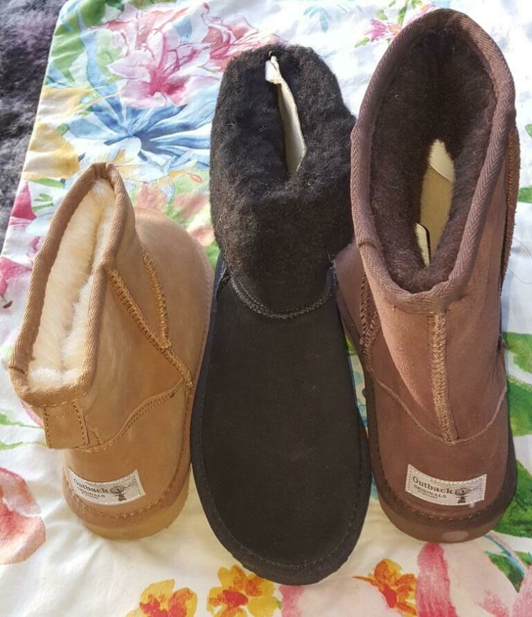 SUPER SPECIAL $29.95 UGG BOOTS Australian sheep wool lining, leather upper, rubber soles -in Fawn, Brown & Black.