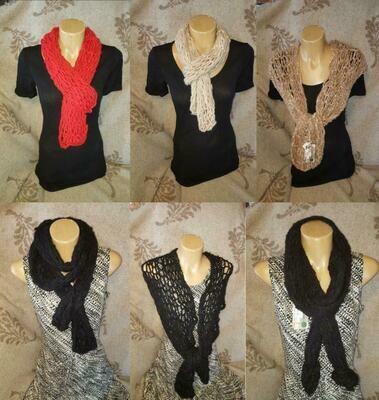 SCARF or NARROW SHAWL/WRAPS 100% Australian alpaca finger knitted- versatile multi-wear options and colors. Australian designer knits.