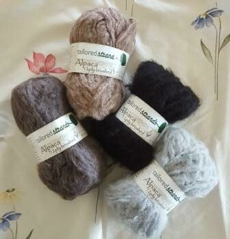 Brushed 12ply Semi-Naturals 100% Australian alpaca yarn Luxuriously soft on the skin. In slate grey, rose grey(earth), ebony black* & silver grey.