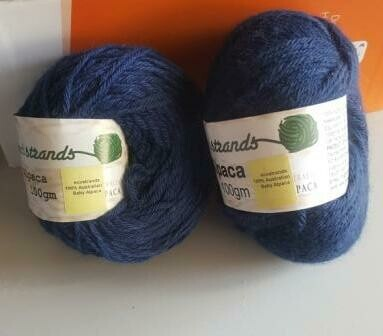 SUPER SPECIAL  100g 12ply ROYAL BLUE only AU$9.95, not $23.90 !  100% Australian baby alpaca.  - only 2 left of different batches! Virtually given away! Normally AU$23.90/100g.
