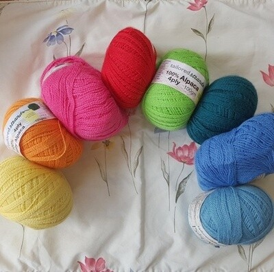 SUMMER SPECIAL RAINBOWS  4ply $13.99 100g Luxurious100%Aussie baby alpaca- RichLemon, Mango, Cyclamen, RufousRed, AppleGreen, Teal, OceanBlue, MidBlue. Not 100g/$23.90 but 33% savings at only...
