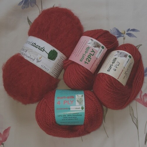 SUPER SPECIAL January RUSTIC-luscious dark orange/brown $8.99/50g  4or8or12ply (60%surialpaca/ 30%finnsheep) or  12plyBrushed 100% Australian Baby Alpaca fibre.  Normally $11.95/50g or $12.55/50g