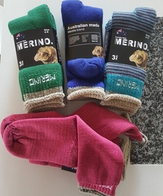 Aussie Merino Socks:  Ladies Size 3pair-packs. Comfy look, made in Australia from Australian merino sheep fibre.