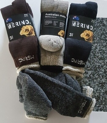 Aussie Merino Socks:  Mens Size 3pair-packs. Comfy look, made in Australia from Australian merino sheep fibre.