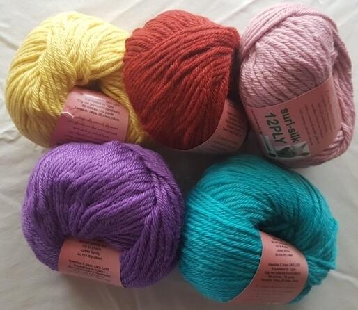 12ply 50g SURI SILK  superb rare baby suri (alpaca), lustrous fine finnsheep, silk blend - lemon, rustic, shell pink, lilac, seachange (aqua) in 50g balls
