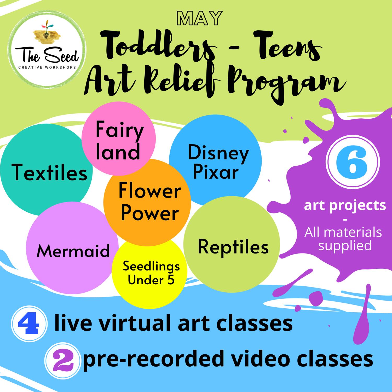 Toddlers - Teens Art Relief Program MAY 2020