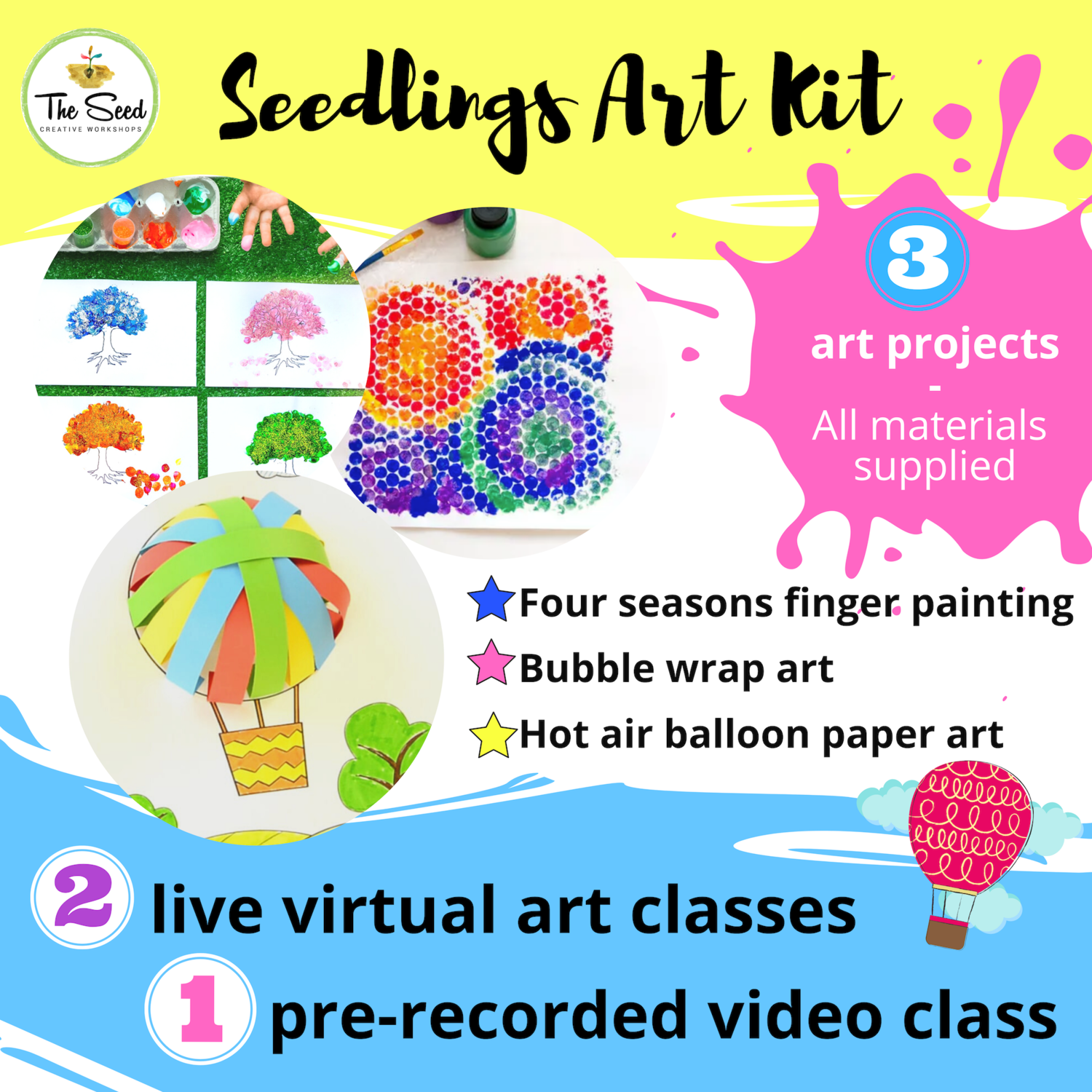 Seedlings (5 and under) Art Relief Kit - live classes + all materials