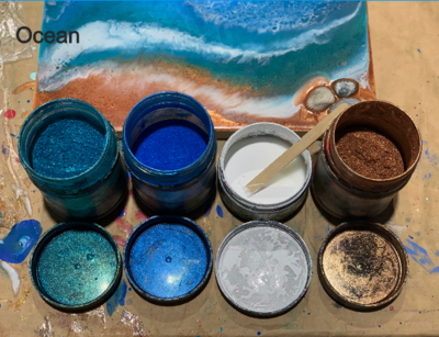 Resin on 4 mini canvases - complete kit and instructions with video tutorial