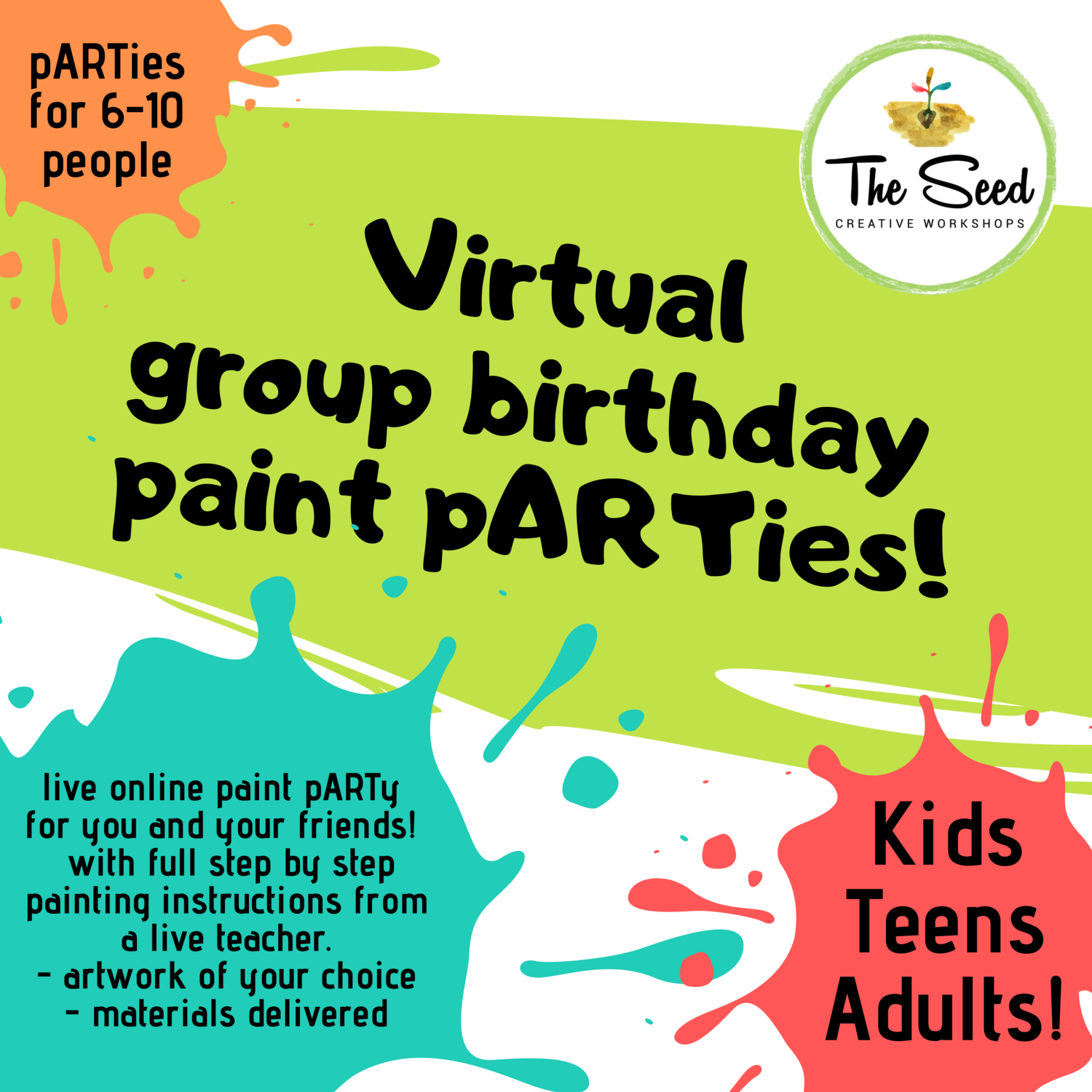 Virtual private paint pARTy! 10 people party pack
