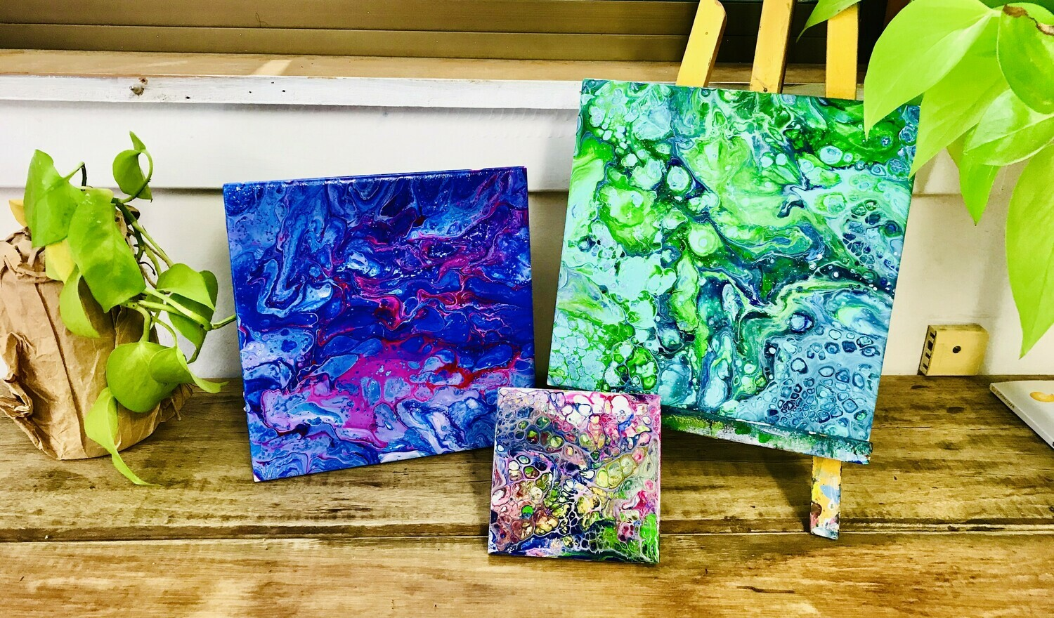 Acrylic pouring workshop $50 - $75 - Wednesday 1 July 11am-1pm