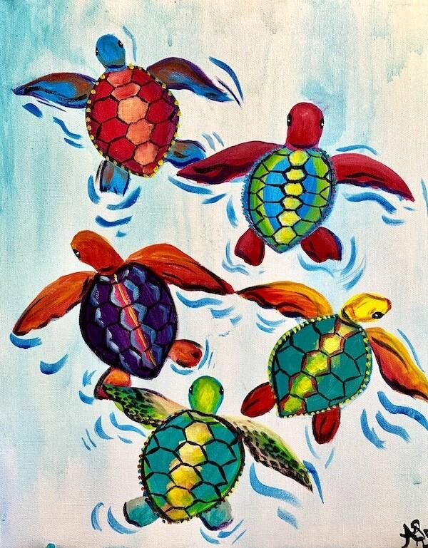 Digital painting class - Sea turtles