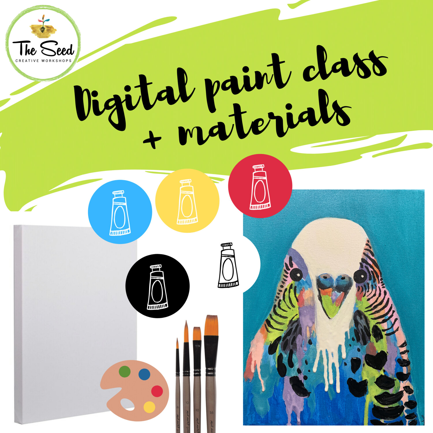 Budgie Digital painting class + materials