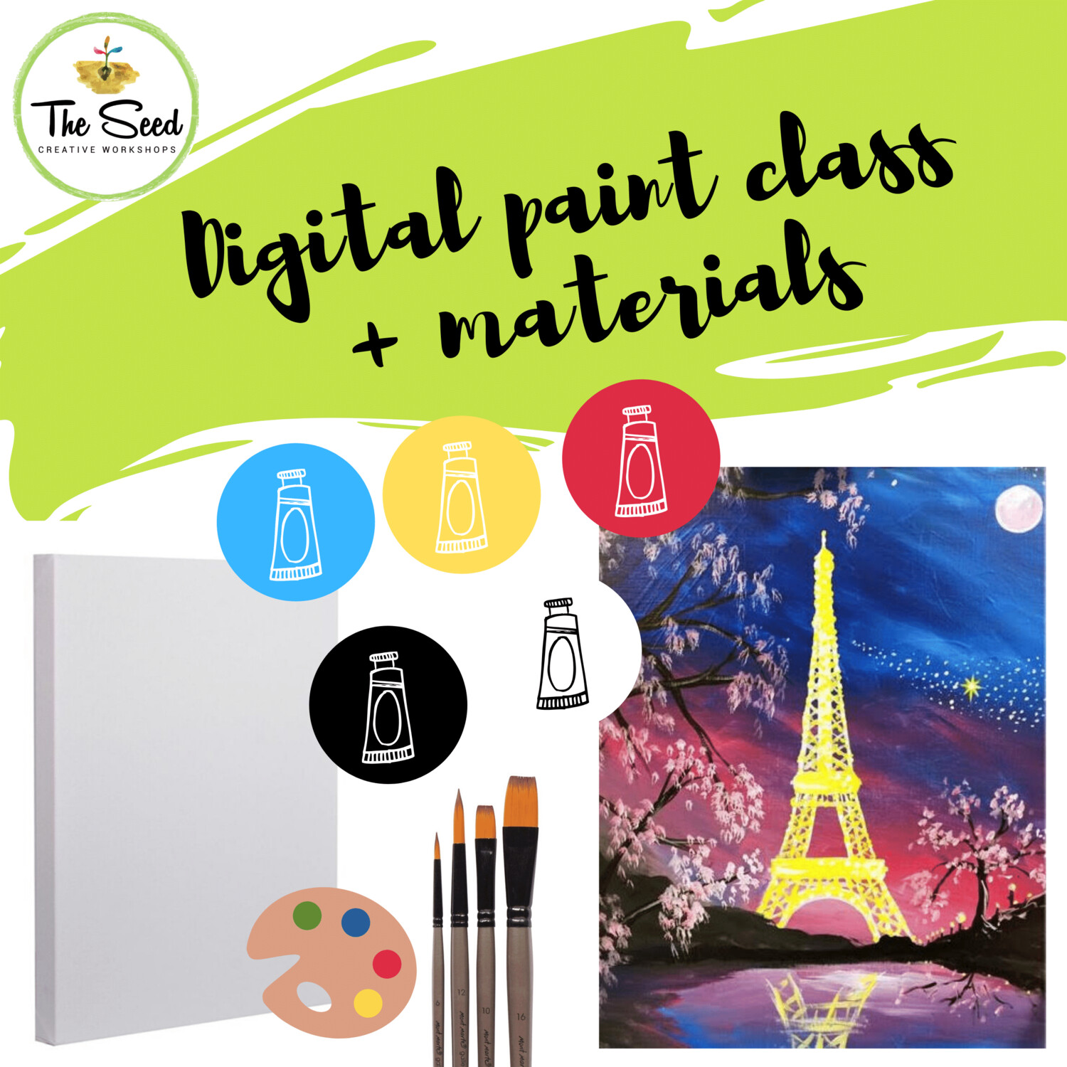 Eiffel Tower Digital painting class - materials + video + written instructions
