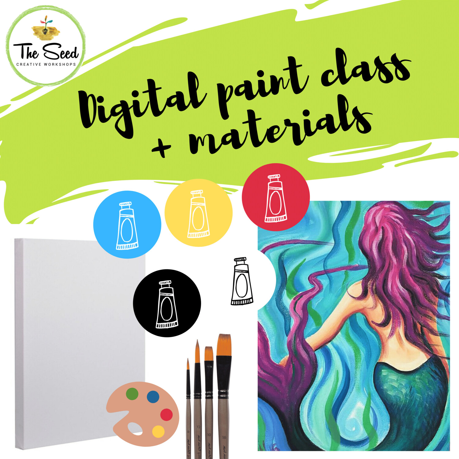 Mermaid Digital painting class - Materials + video + written instructions!