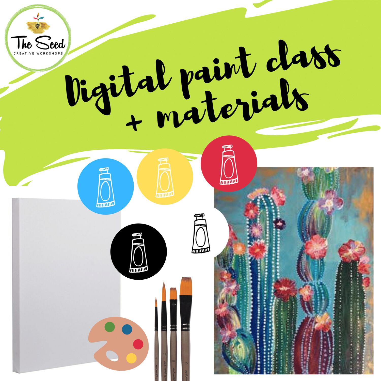 Cactus Digital painting class  + materials
