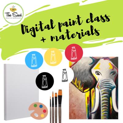 Elephant Digital painting class - materials + video + written instructions