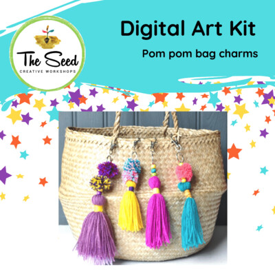 Pom pom bag charms! - Kids/Teens digital art class