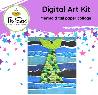 Mermaid tail collage - Kids digital art class