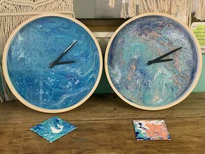 Acrylic pour clock workshop- Tuesday 3 November, 6.30-8pm