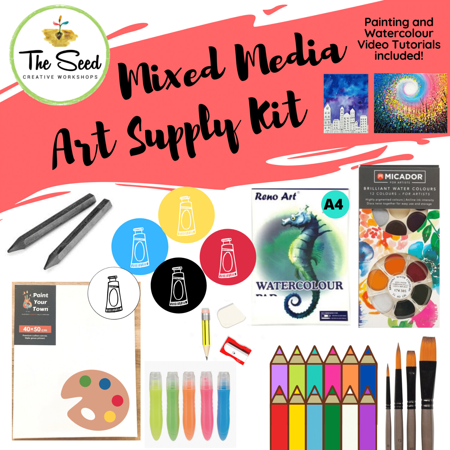 Mixed Media Art Supply Kit  & Instructional Lessons!