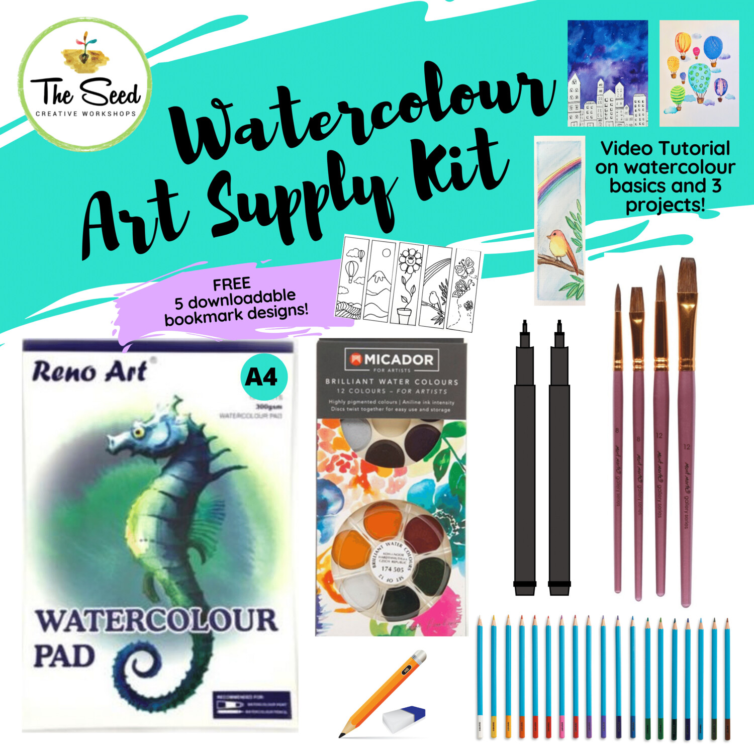 Watercolour Art Supply Kit & Instructional Lessons!