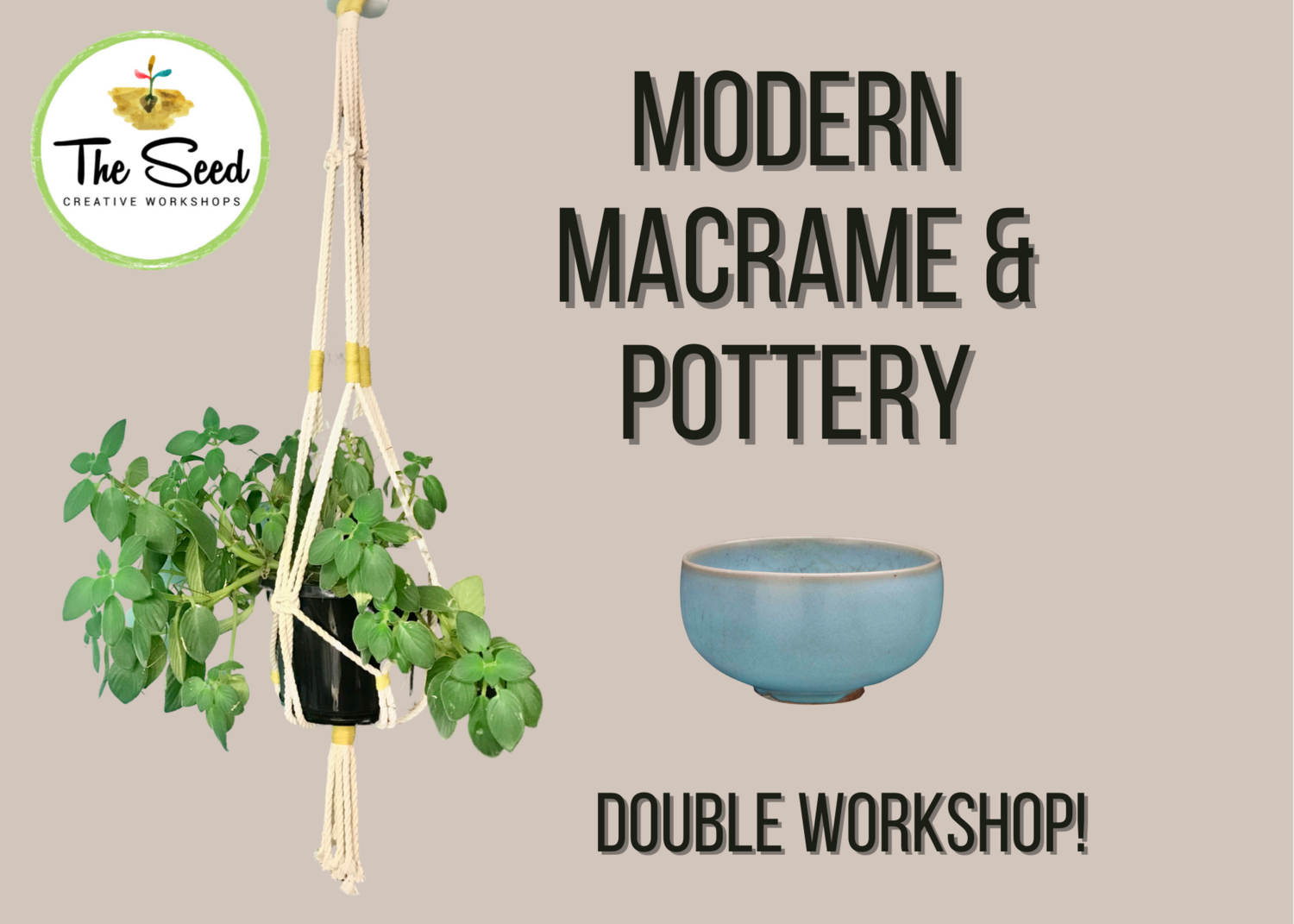 Modern Macrame & Pottery Double Workshop - Tuesday 24 Nov + Tues 1 Dec, 6.30-9pm