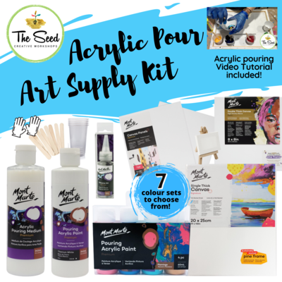 Acrylic Pour Art Supply Kit & Instructional Lessons!
