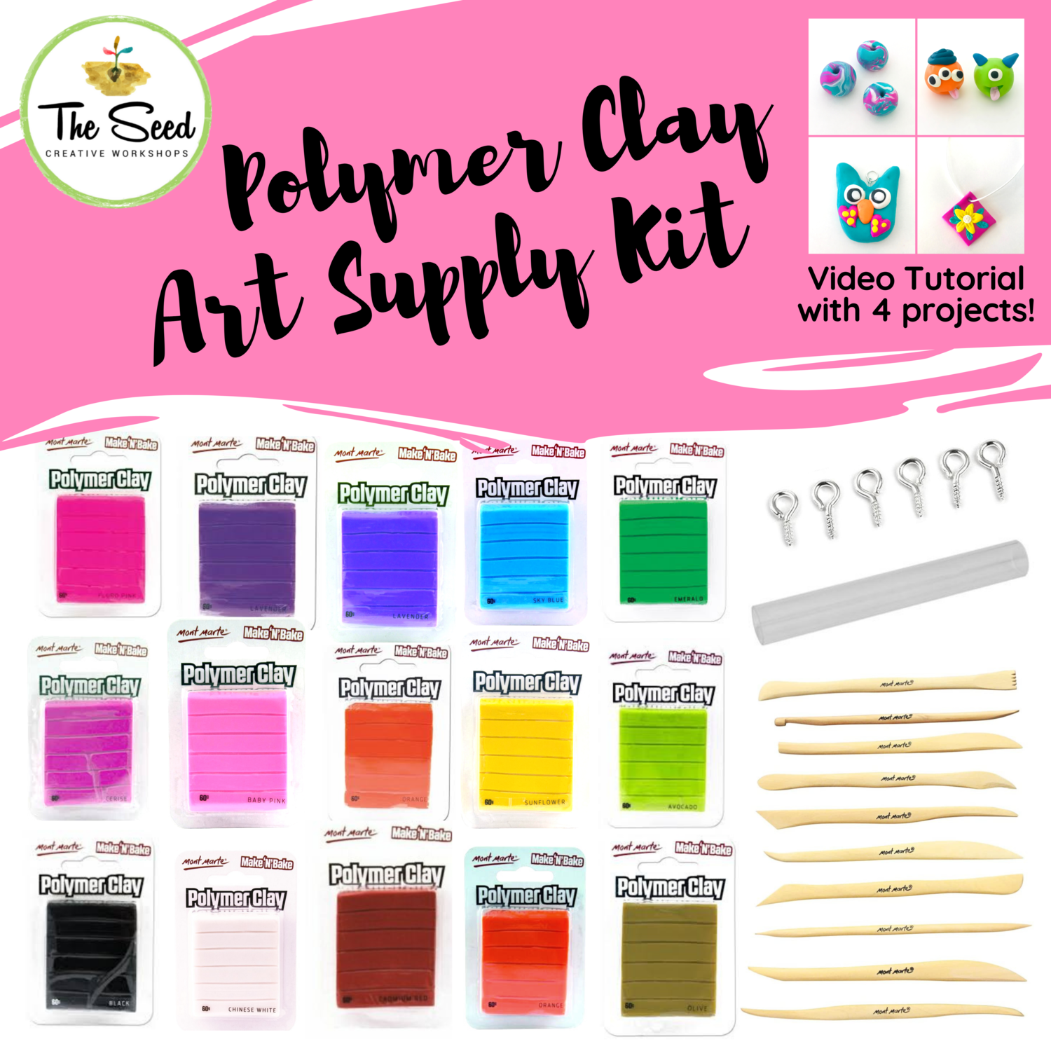 Polymer Clay Art Supply Kit  & Instructional Lessons!