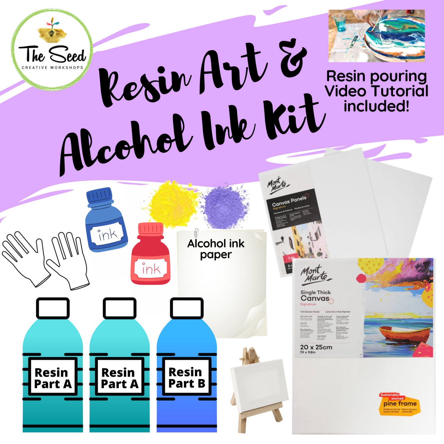 Resin & Alcohol Ink Art Supply Kit - & Instructional Lessons!
