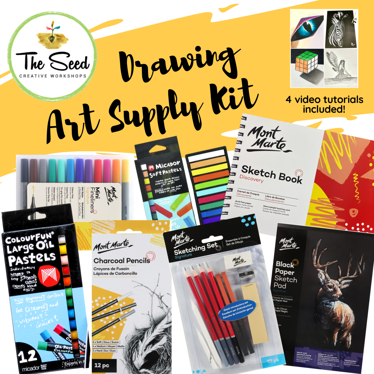 Drawing Art Supply Kit  & Instructional Lessons!